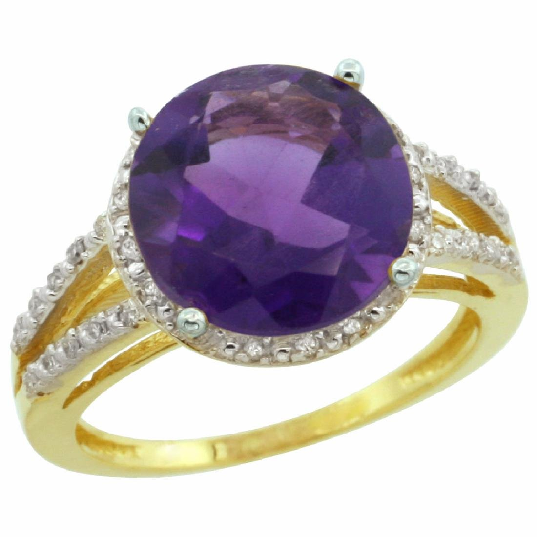 Natural 5.34 ctw Amethyst & Diamond Engagement Ring 14K