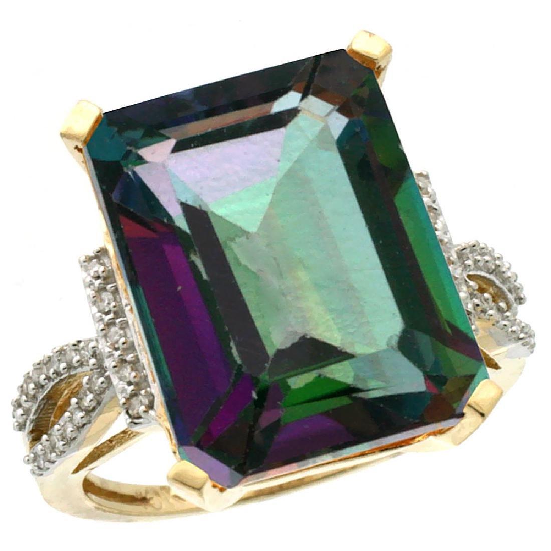 Natural 12.14 ctw Mystic-topaz & Diamond Engagement