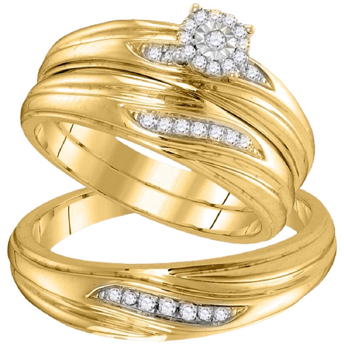 0.20 CTW Diamond His & Hers Matching Trio Engagement