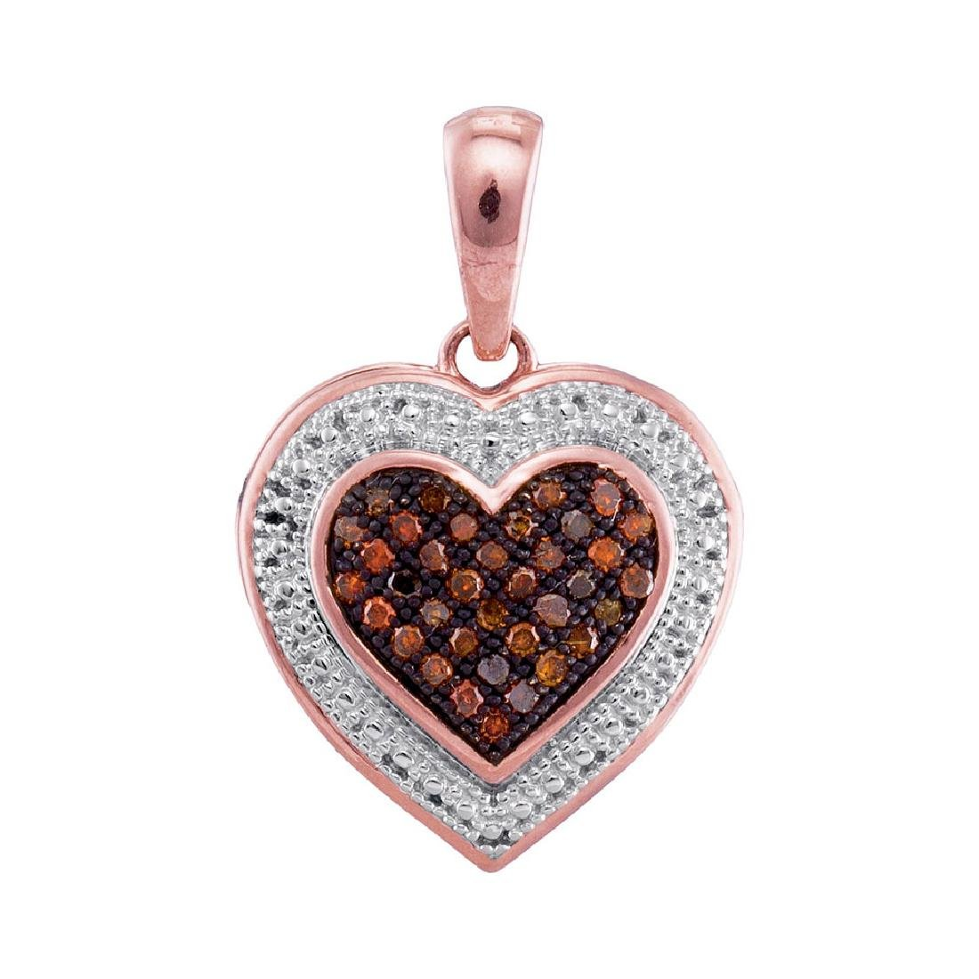 0.12 CTW Red Color Diamond Heart Love Pendant 10KT Rose