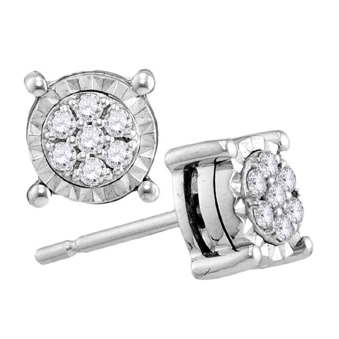 0.14 CTW Diamond Flower Screwback Earrings 10KT White