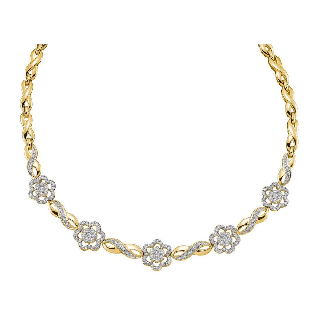 1.99 CTW Diamond Infinity Flower Cluster Necklace 14KT