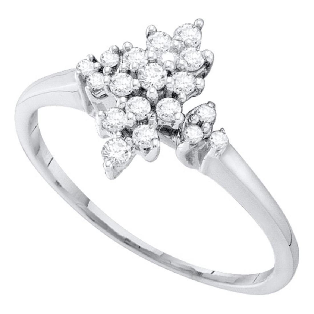 0.25 CTW Prong-set Diamond Oval Cluster Ring 10KT White