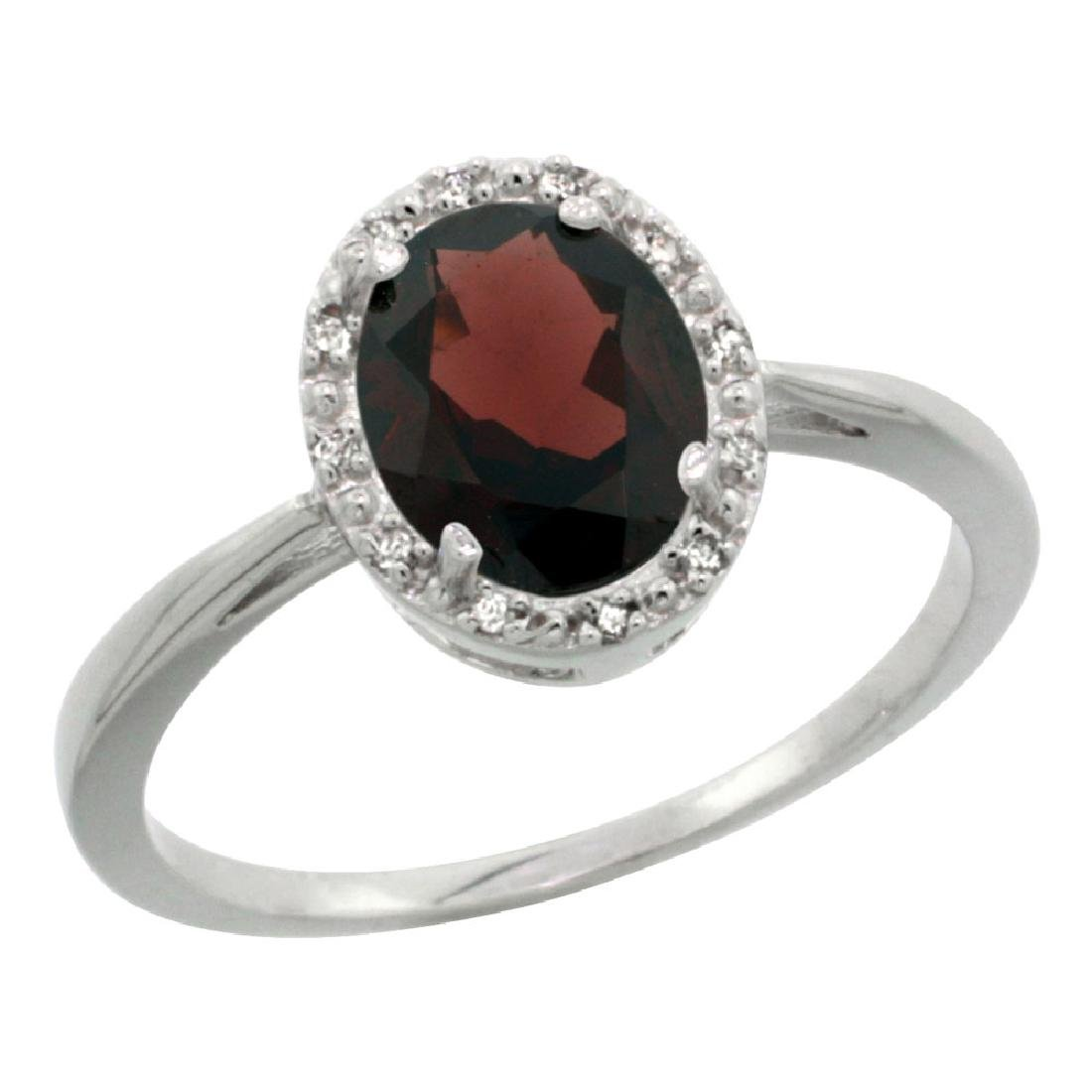 Natural 1.22 ctw Garnet & Diamond Engagement Ring 10K