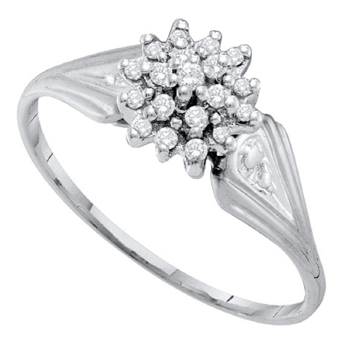 0.10 CTW Diamond Cluster Ring 10KT White Gold -