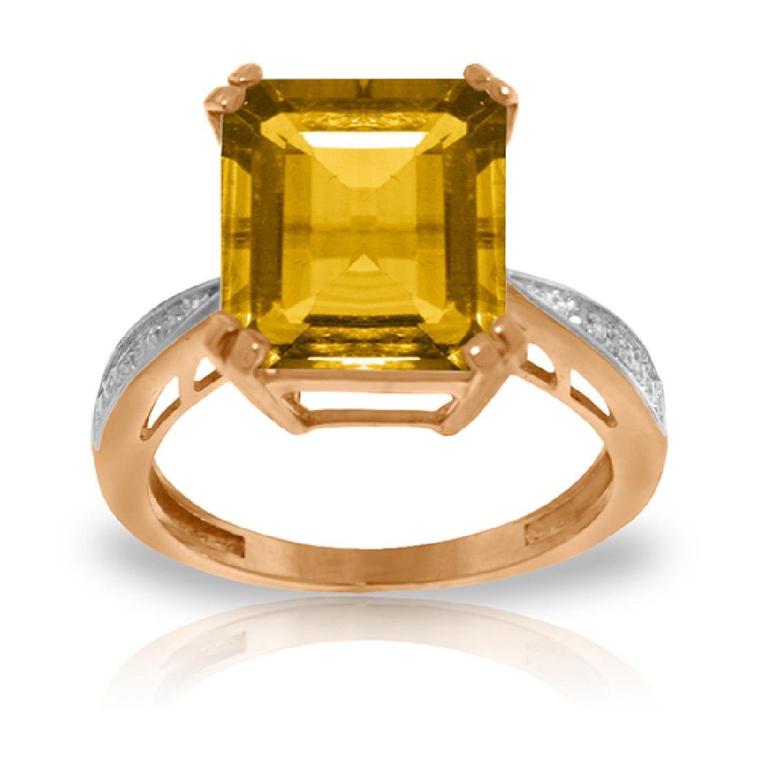 Genuine 5.62 ctw Citrine & Diamond Ring Jewelry 14KT