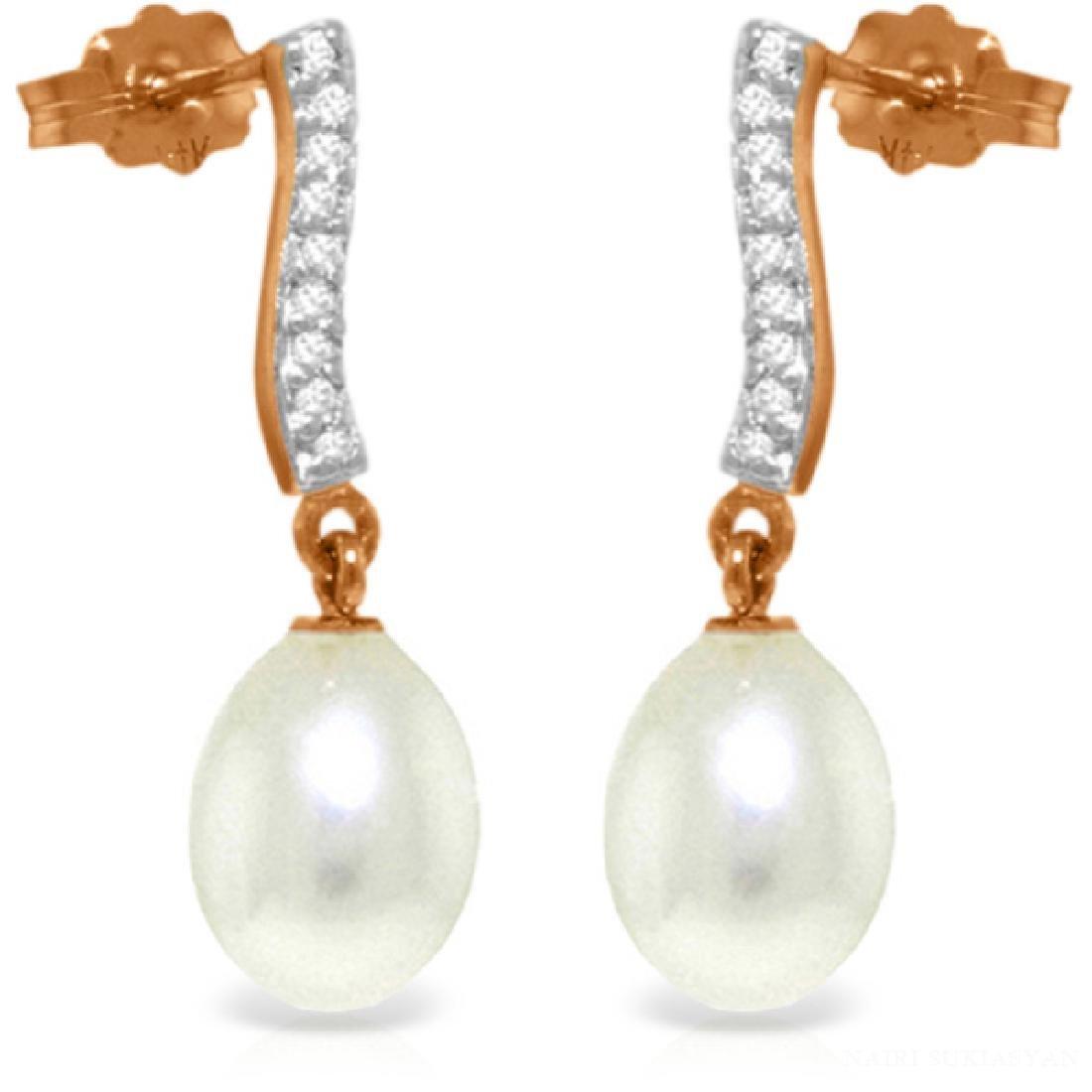 Genuine 8.28 ctw Pearl & Diamond Earrings Jewelry 14KT
