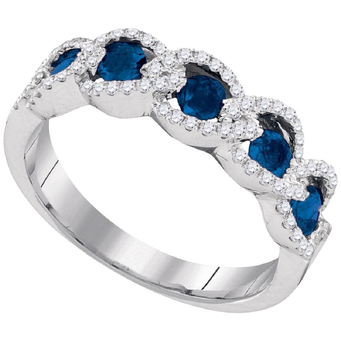 0.79 CTW Blue Sapphire Diamond Outline Ring 14KT White