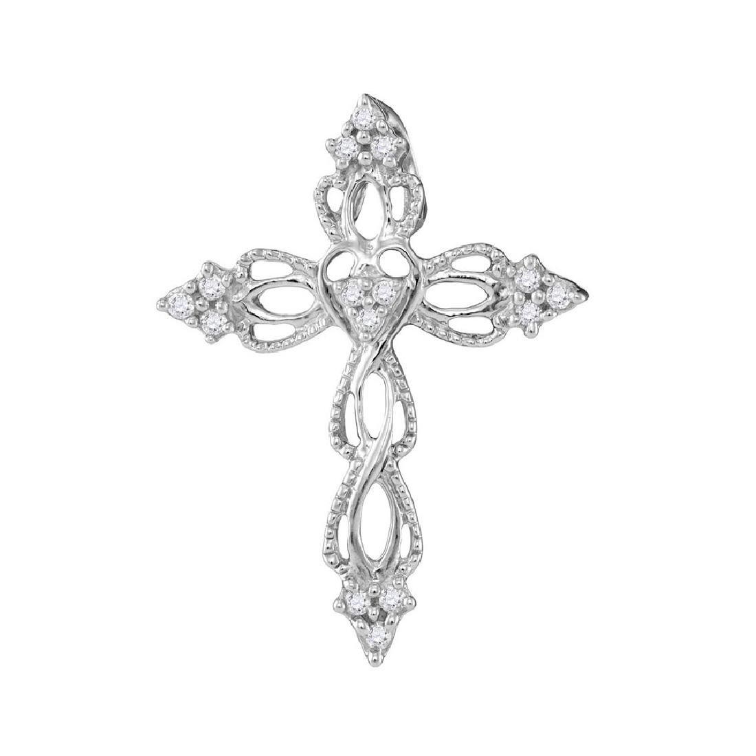 0.15 CTW Diamond Heart Cross Pendant 10KT White Gold -