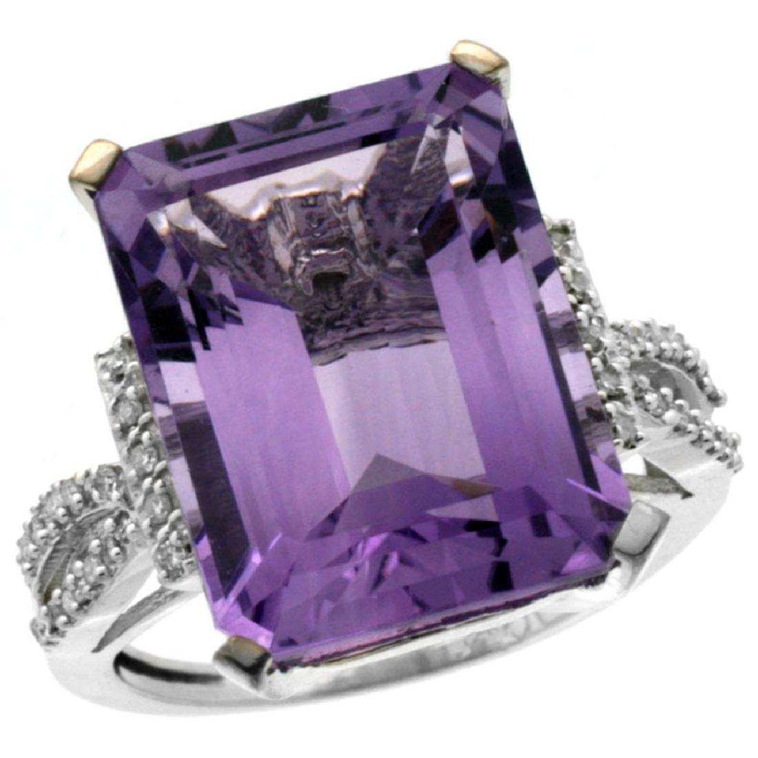 Natural 12.14 ctw amethyst & Diamond Engagement Ring
