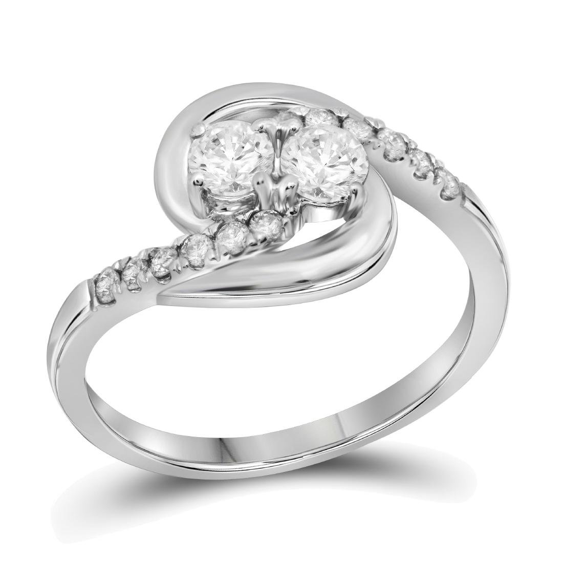 0.58 CTW Diamond 2-stone Hearts Together Bridal Ring