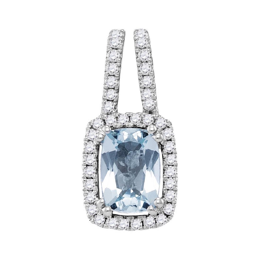 1 CTW Cushion Aquamarine Solitaire Diamond Pendant 14KT