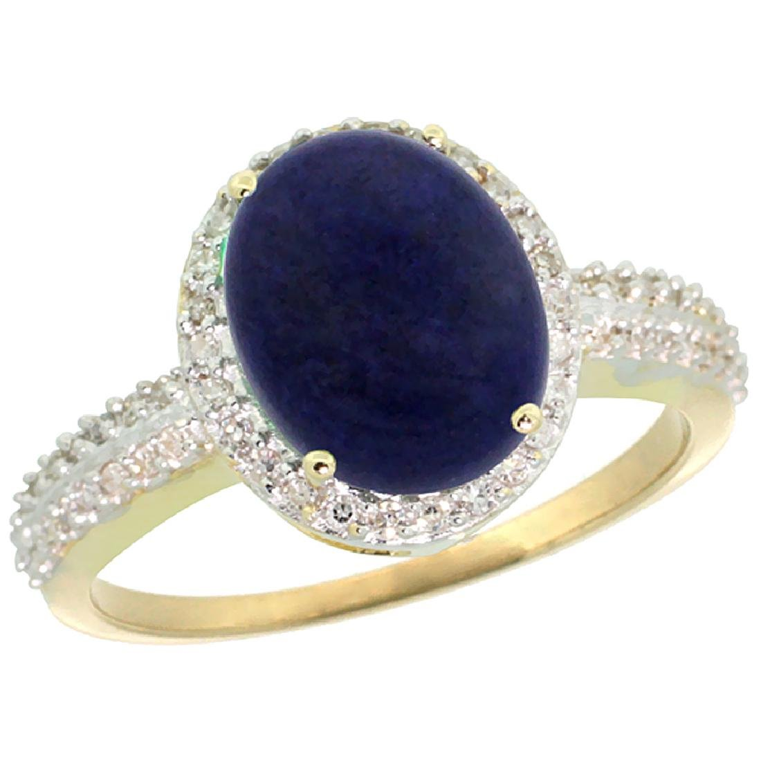 Natural 2.56 ctw Lapis & Diamond Engagement Ring 14K