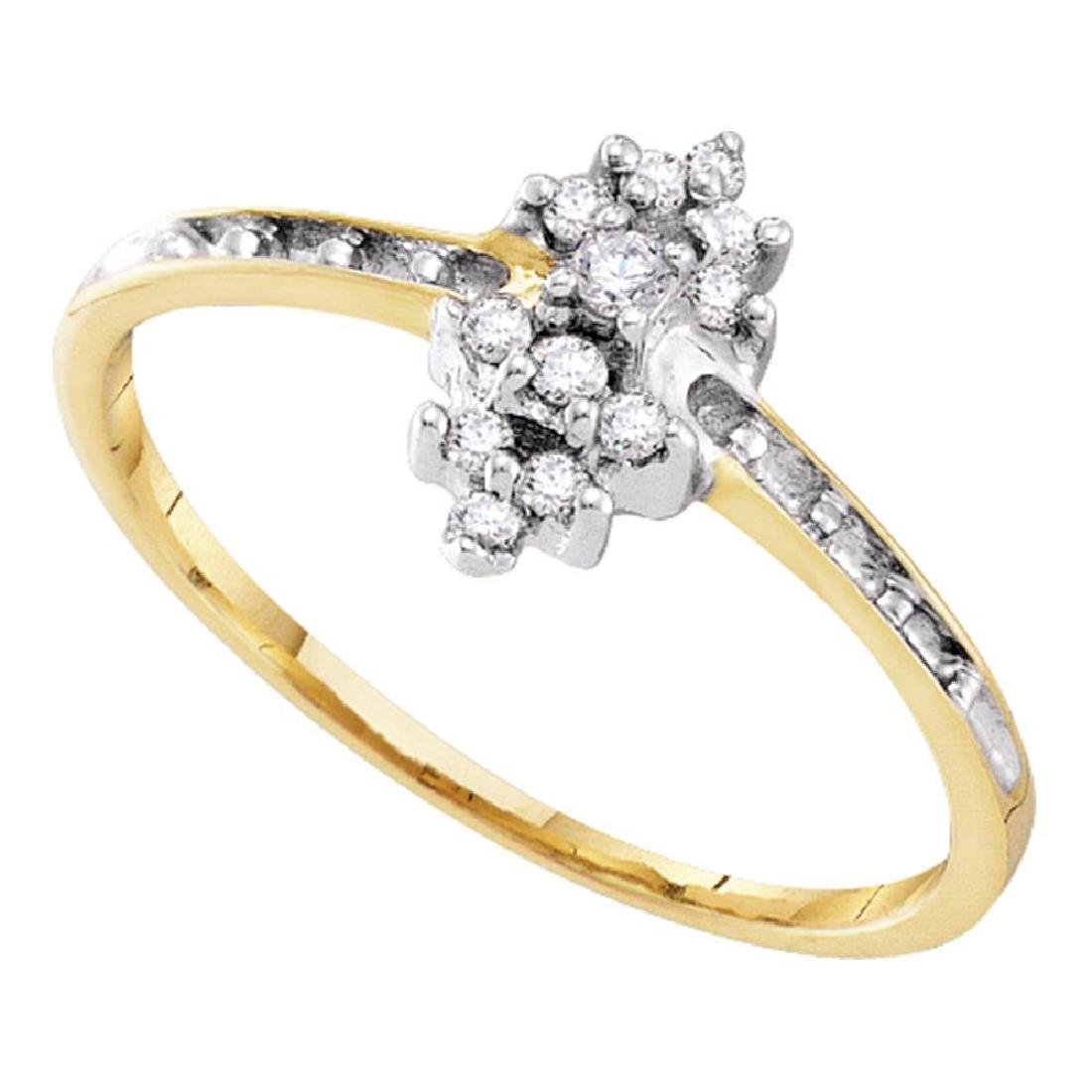 0.12 CTW Prong-set Diamond Small Cluster Ring 10KT