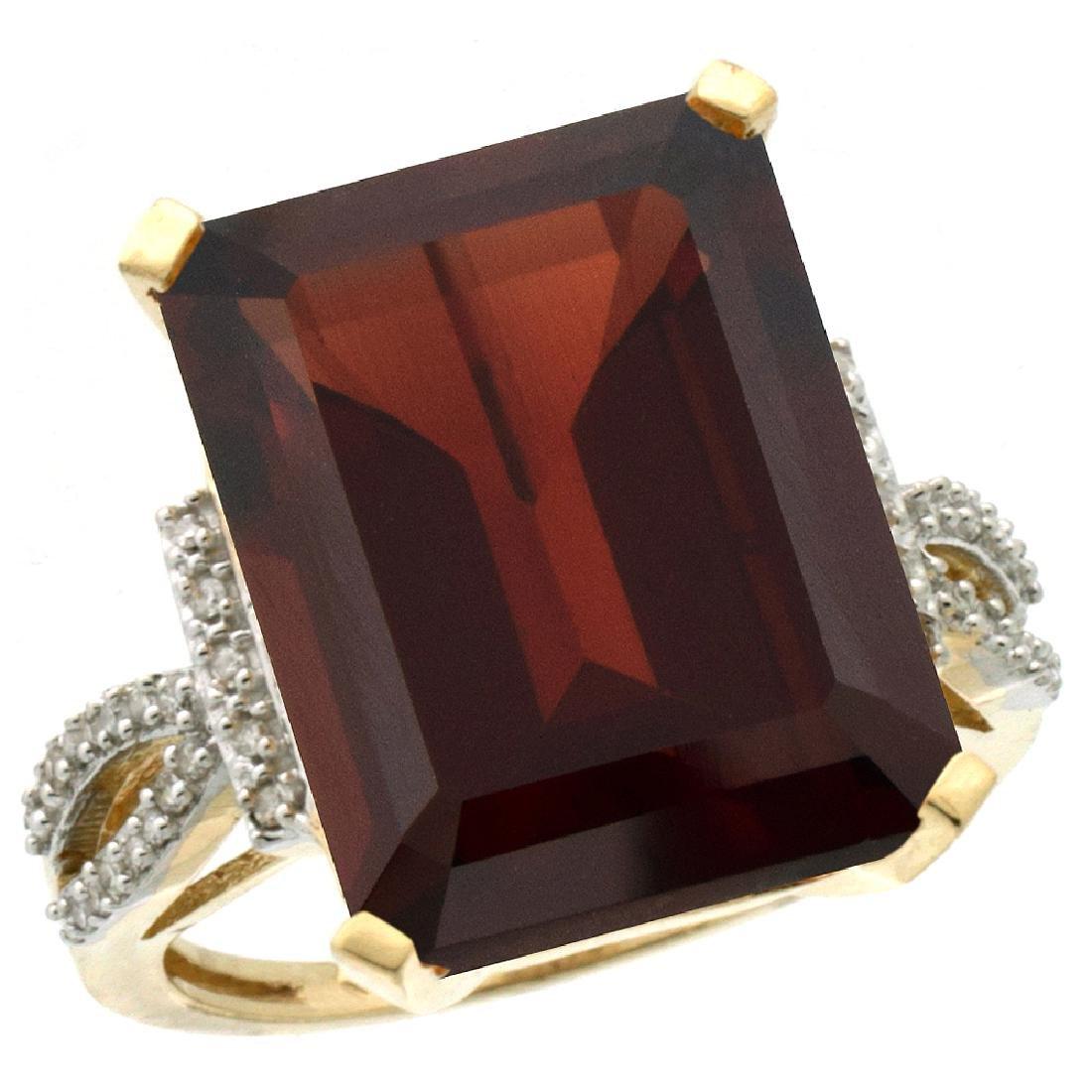 Natural 12.14 ctw Garnet & Diamond Engagement Ring 14K
