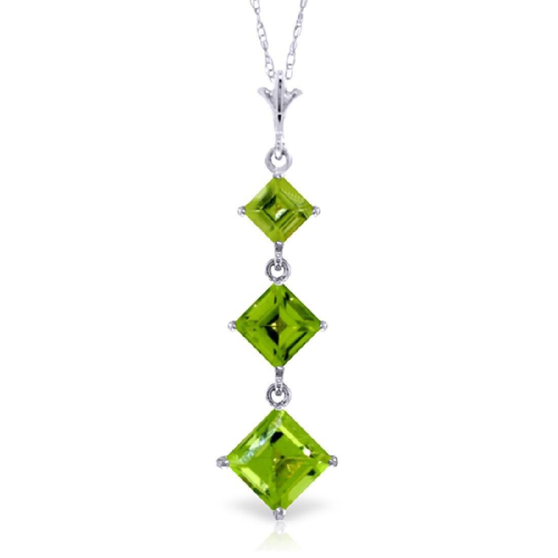 Genuine 2.4 ctw Peridot Necklace Jewelry 14KT White