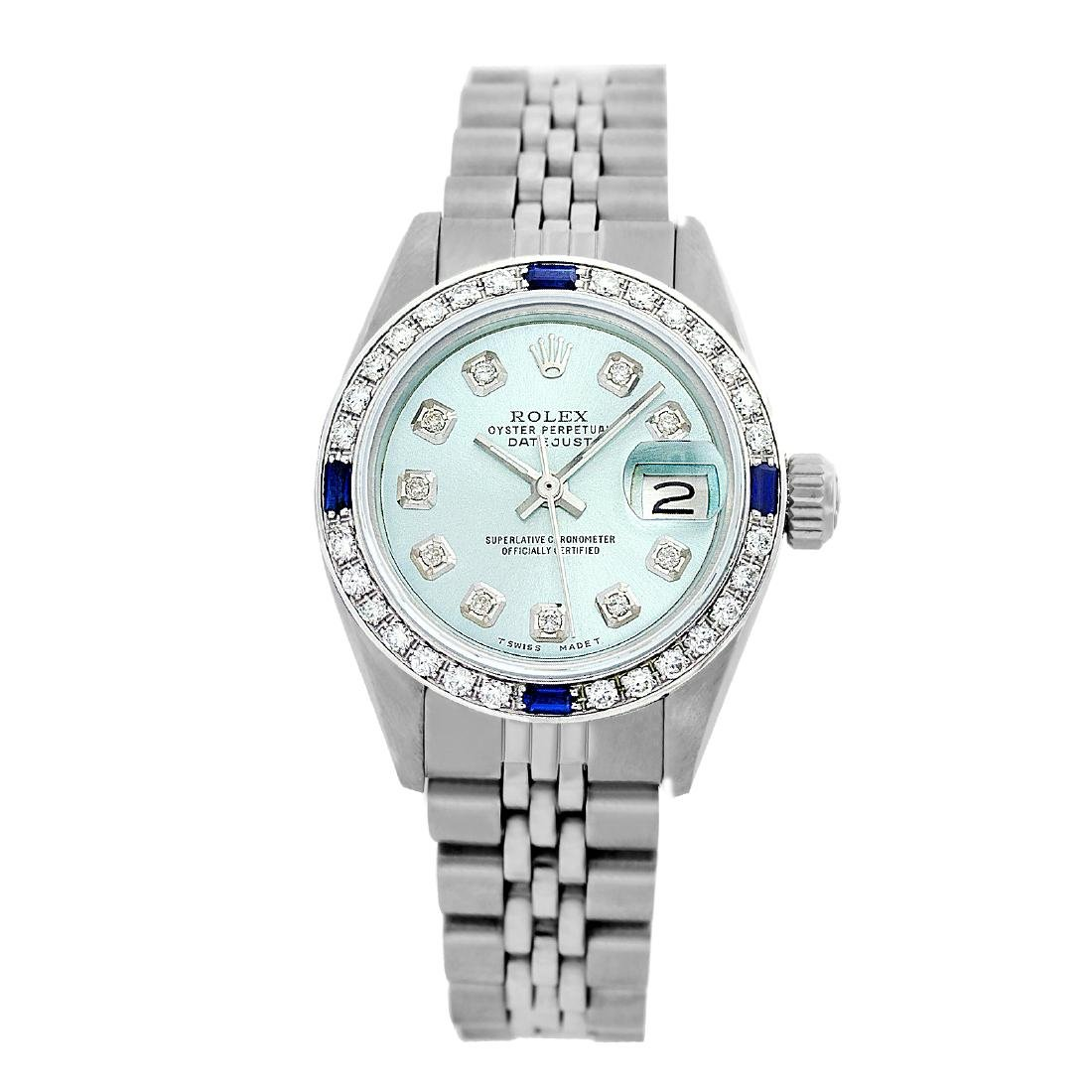 Rolex Pre-owned 26mm Womens Custom Ice Blue Dial