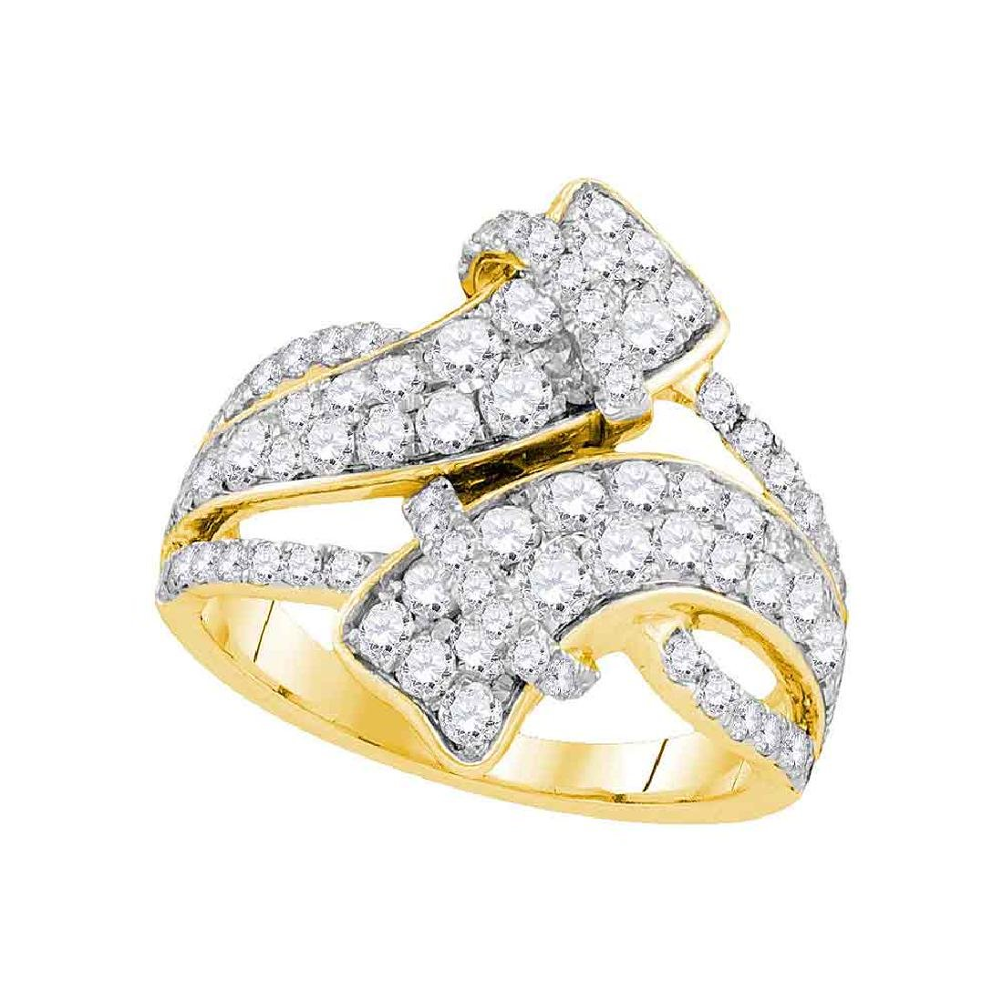 2 CTW Diamond Bypass Crossover Luxury Ring 14KT Yellow
