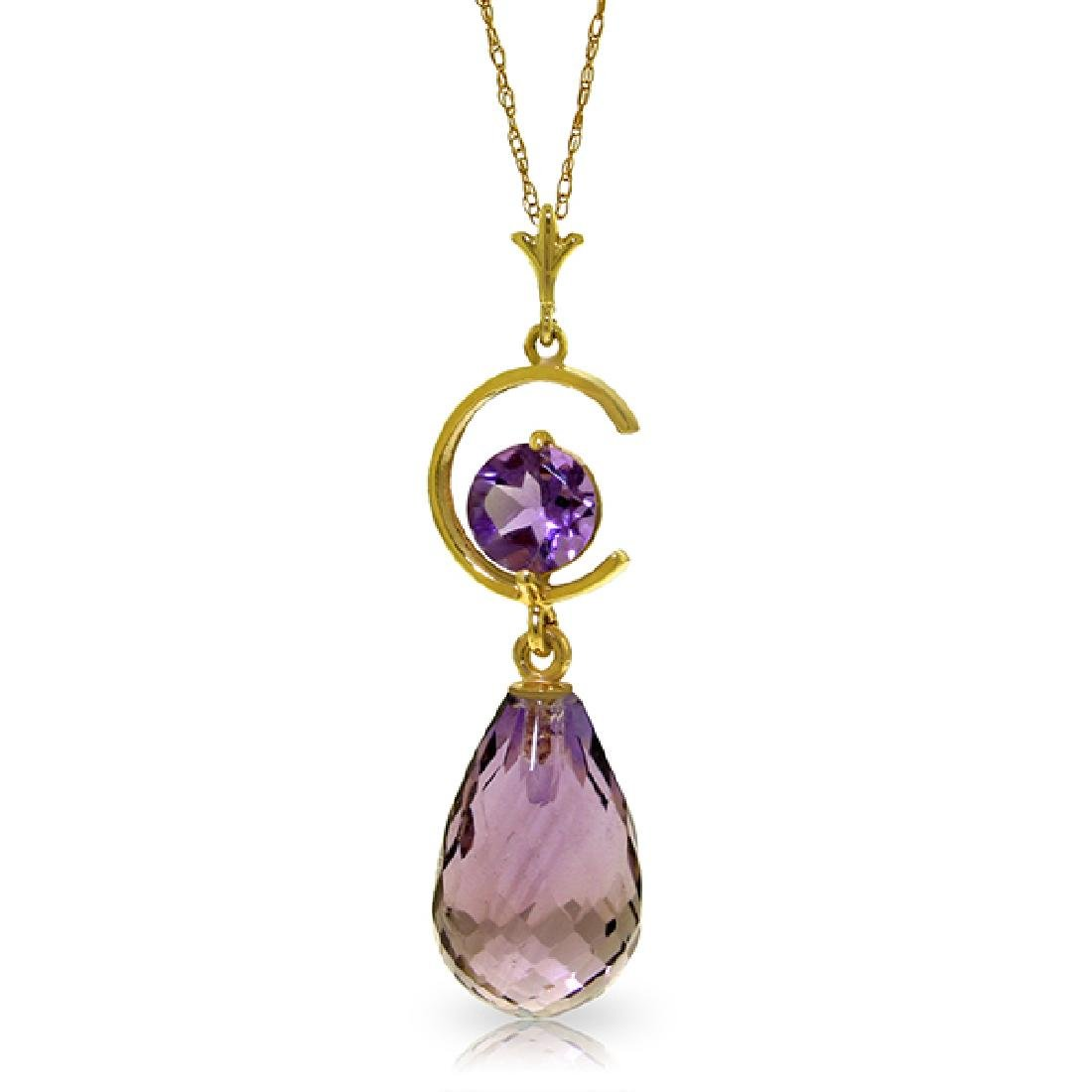 Genuine 5.5 ctw Amethyst Necklace Jewelry 14KT Yellow