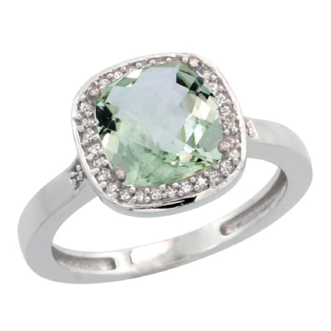 Natural 3.94 ctw Green-amethyst & Diamond Engagement