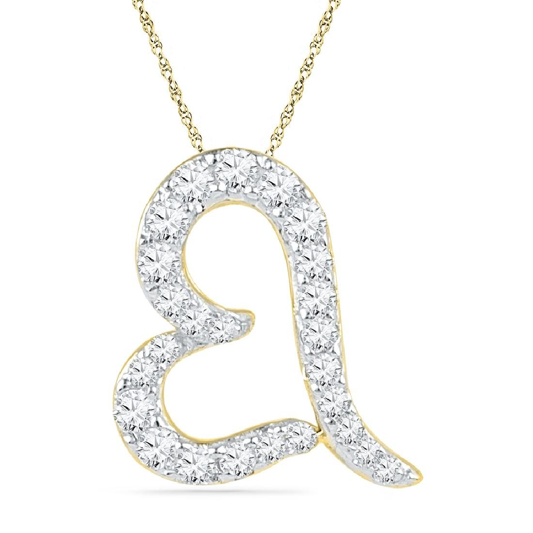 0.16 CTW Diamond Heart Love Pendant 10KT Yellow Gold -
