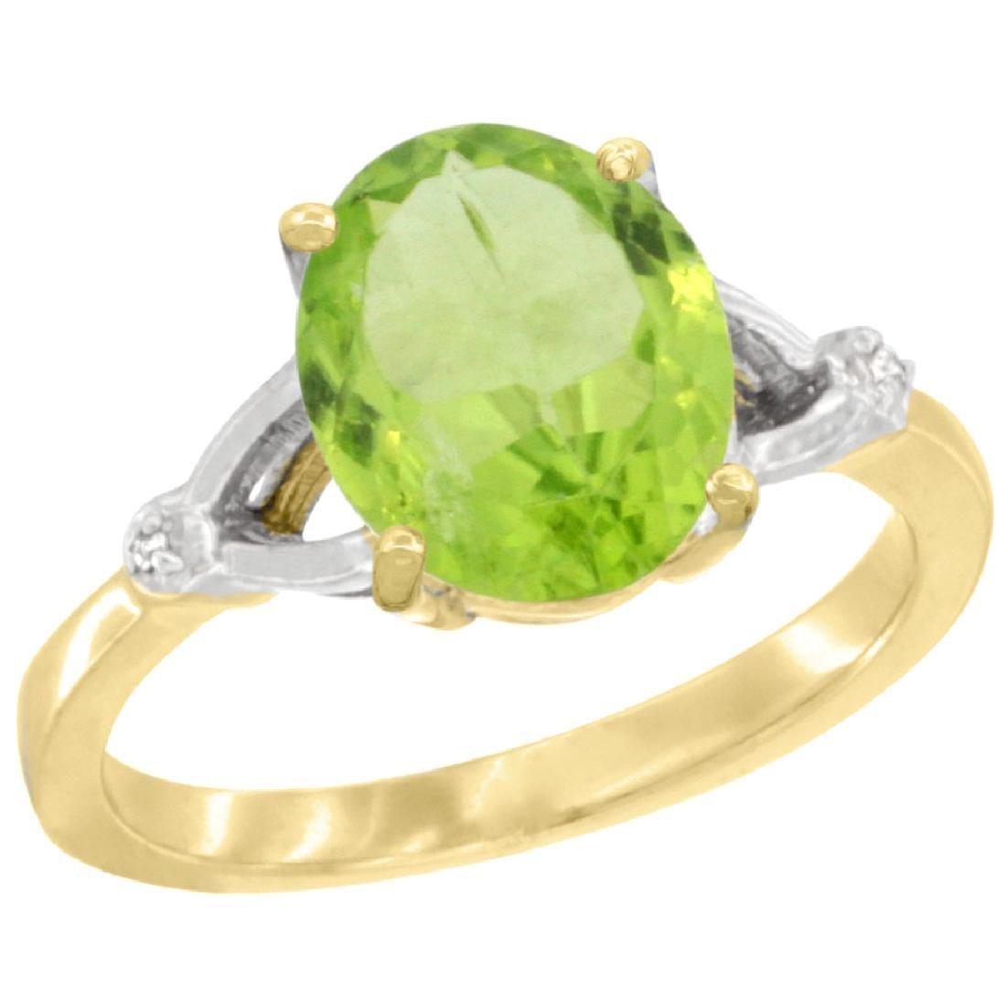 Natural 2.79 ctw Peridot & Diamond Engagement Ring 14K