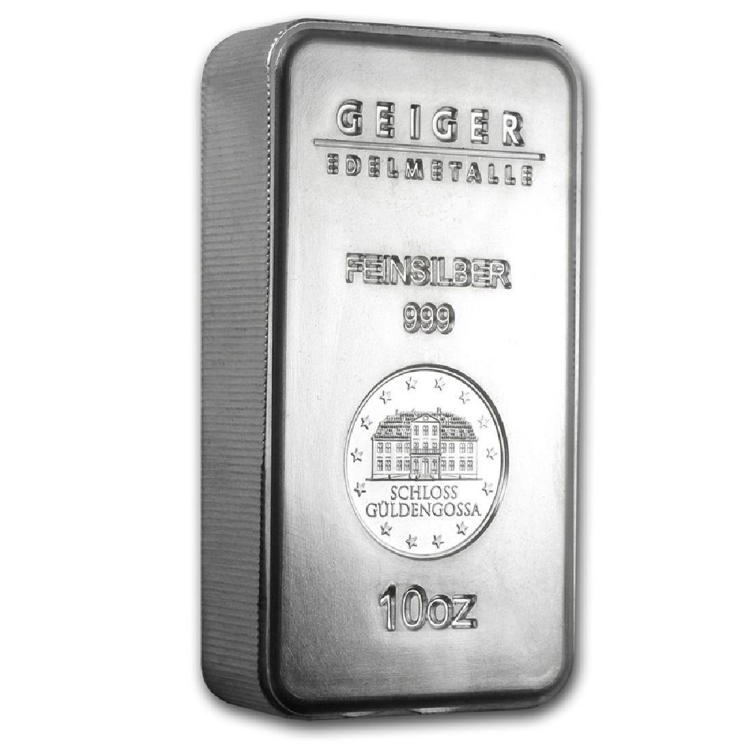 Genuine 10 oz 0.999 Fine Silver Bar - Geiger Security