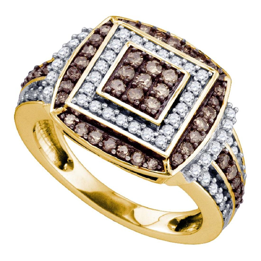 1.05 CTW Brown Color Diamond Square Cluster Ring 10KT