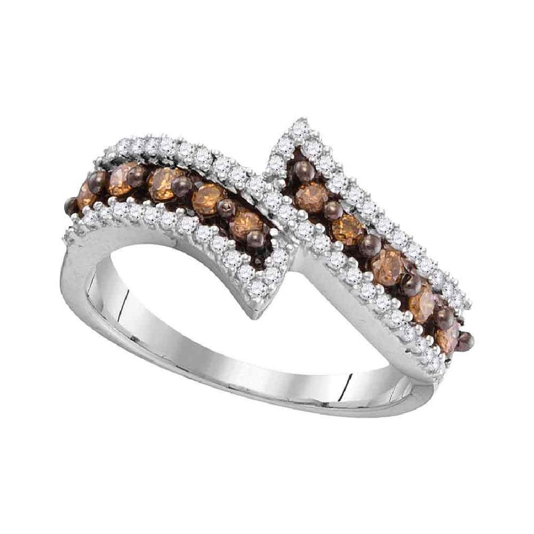 0.50 CTWCognac-brown Color Diamond Bypass Ring 10KT