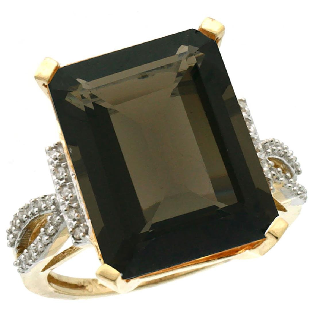 Natural 12.14 ctw Smoky-topaz & Diamond Engagement Ring