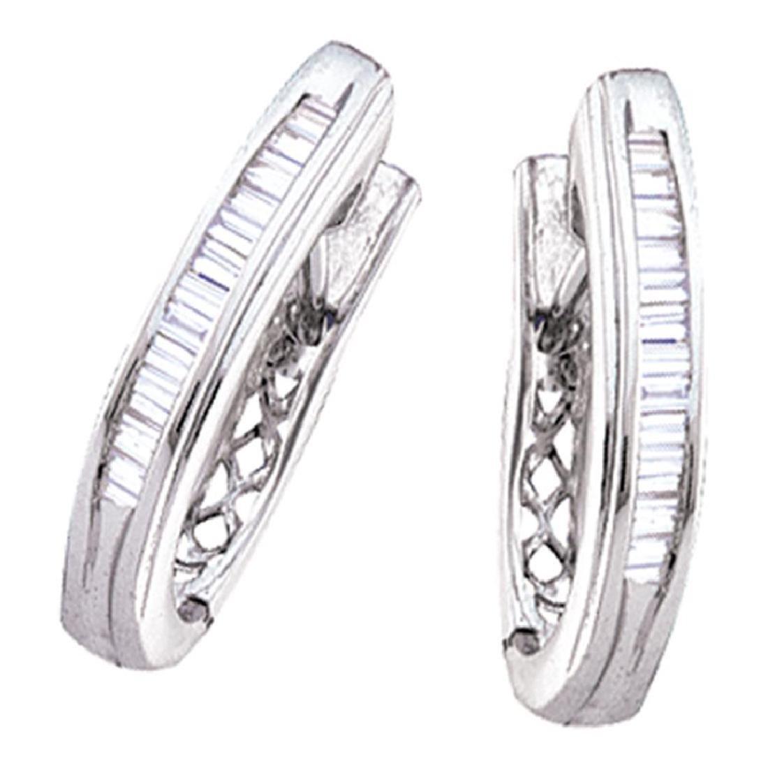 0.47 CTW Diamond Hoop Earrings 10KT White Gold -