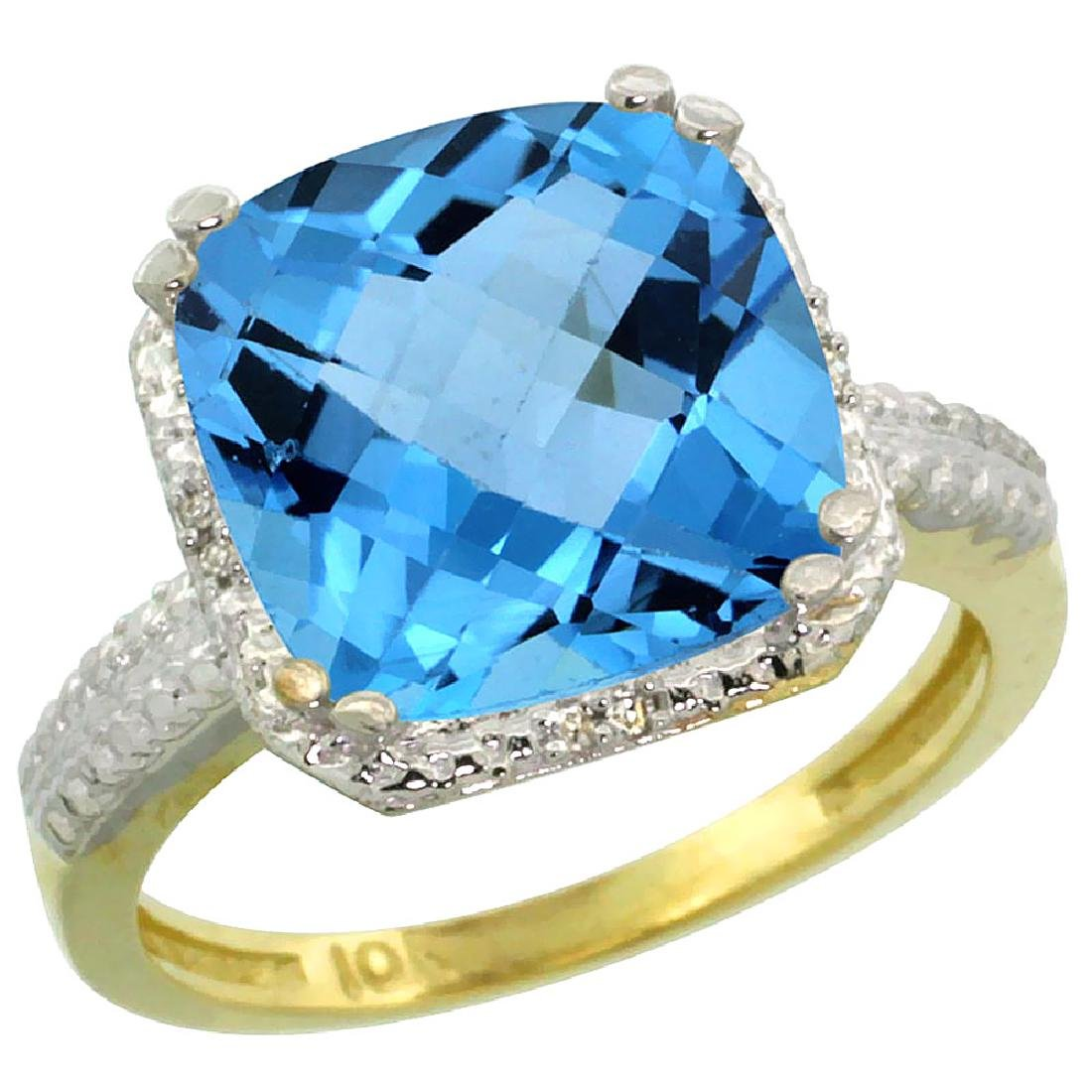 Natural 5.96 ctw Swiss-blue-topaz & Diamond Engagement