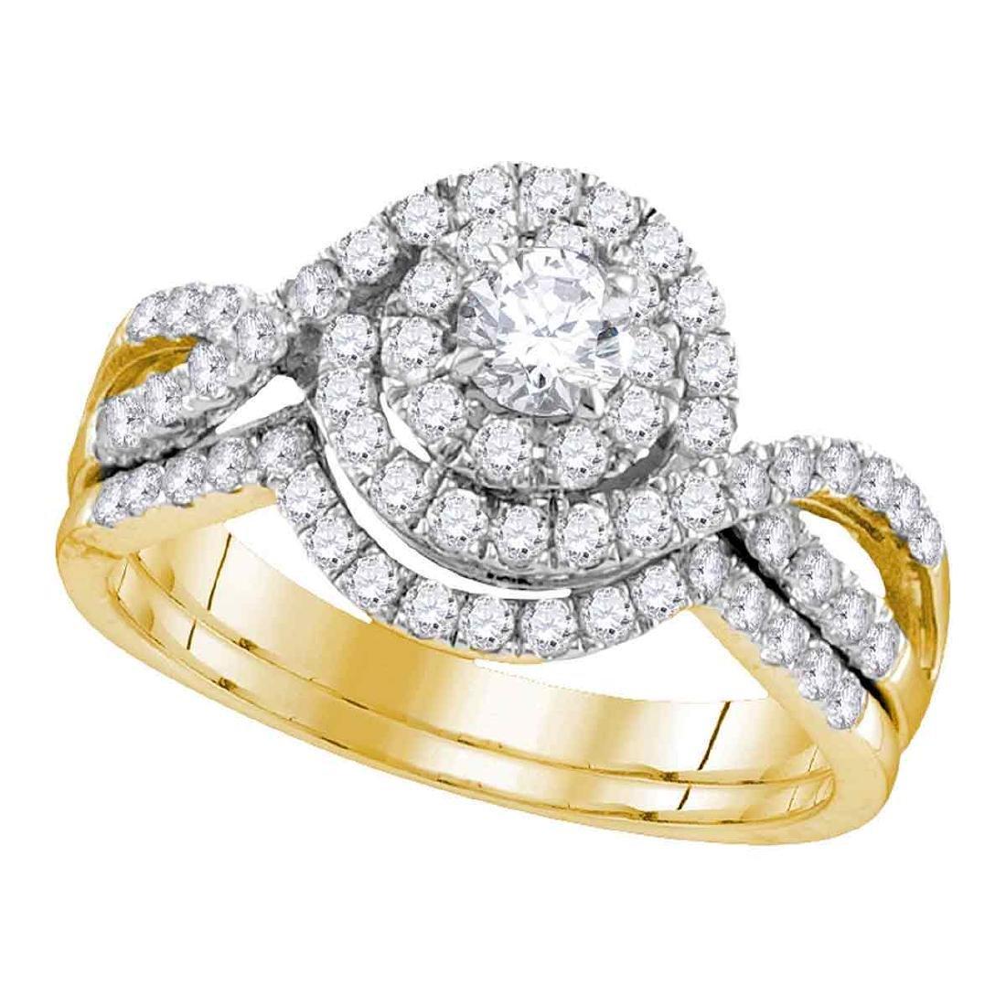1 CTW Diamond Swirl Bridal Engagement Ring 14KT Yellow