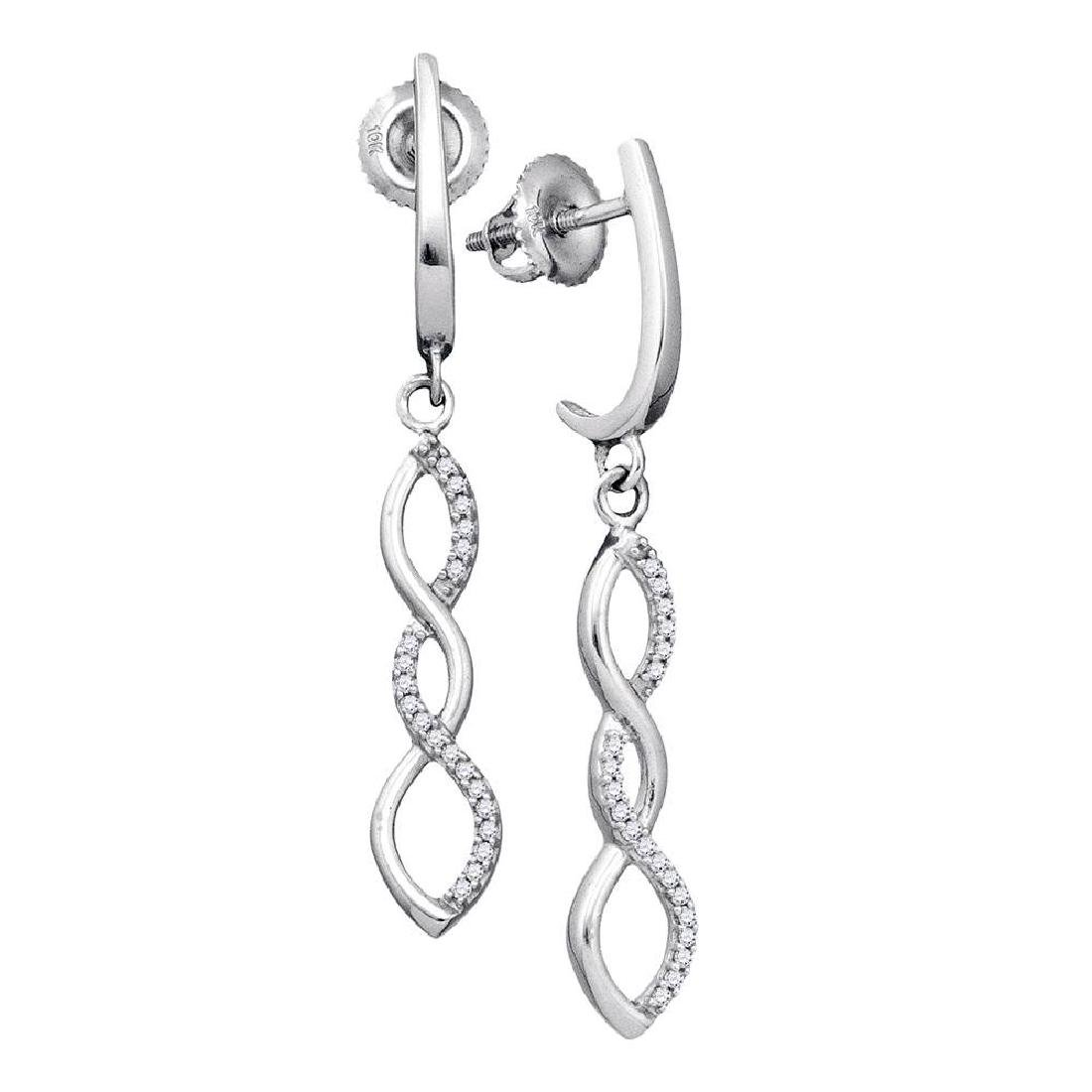 0.14 CTW Diamond Infinity Dangle Earrings 10KT White