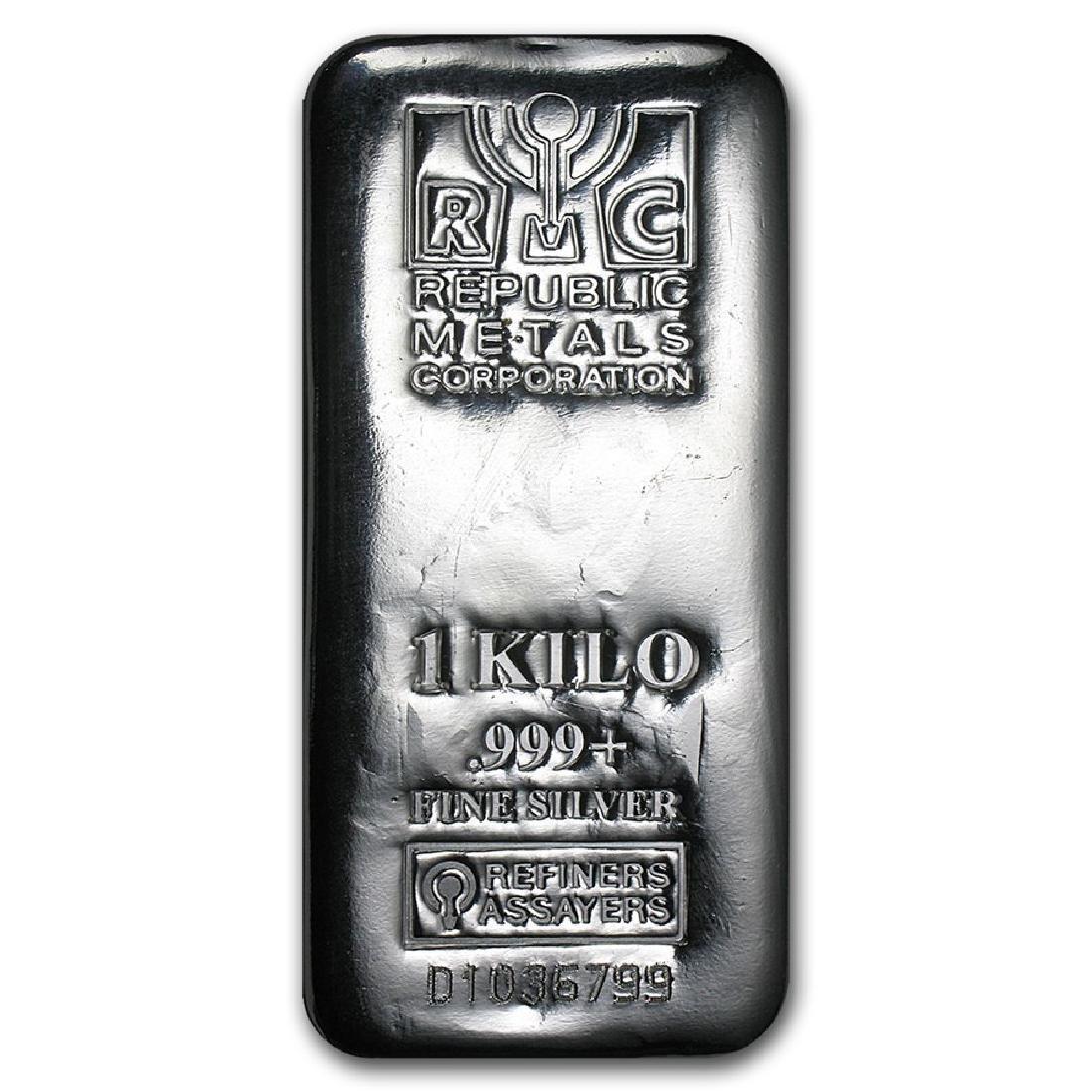 Genuine 1 kilo 0.999 Fine Silver Bar - Republic Metals