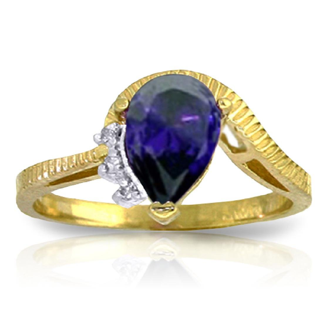 Genuine 1.52 ctw Sapphire & Diamond Ring Jewelry 14KT