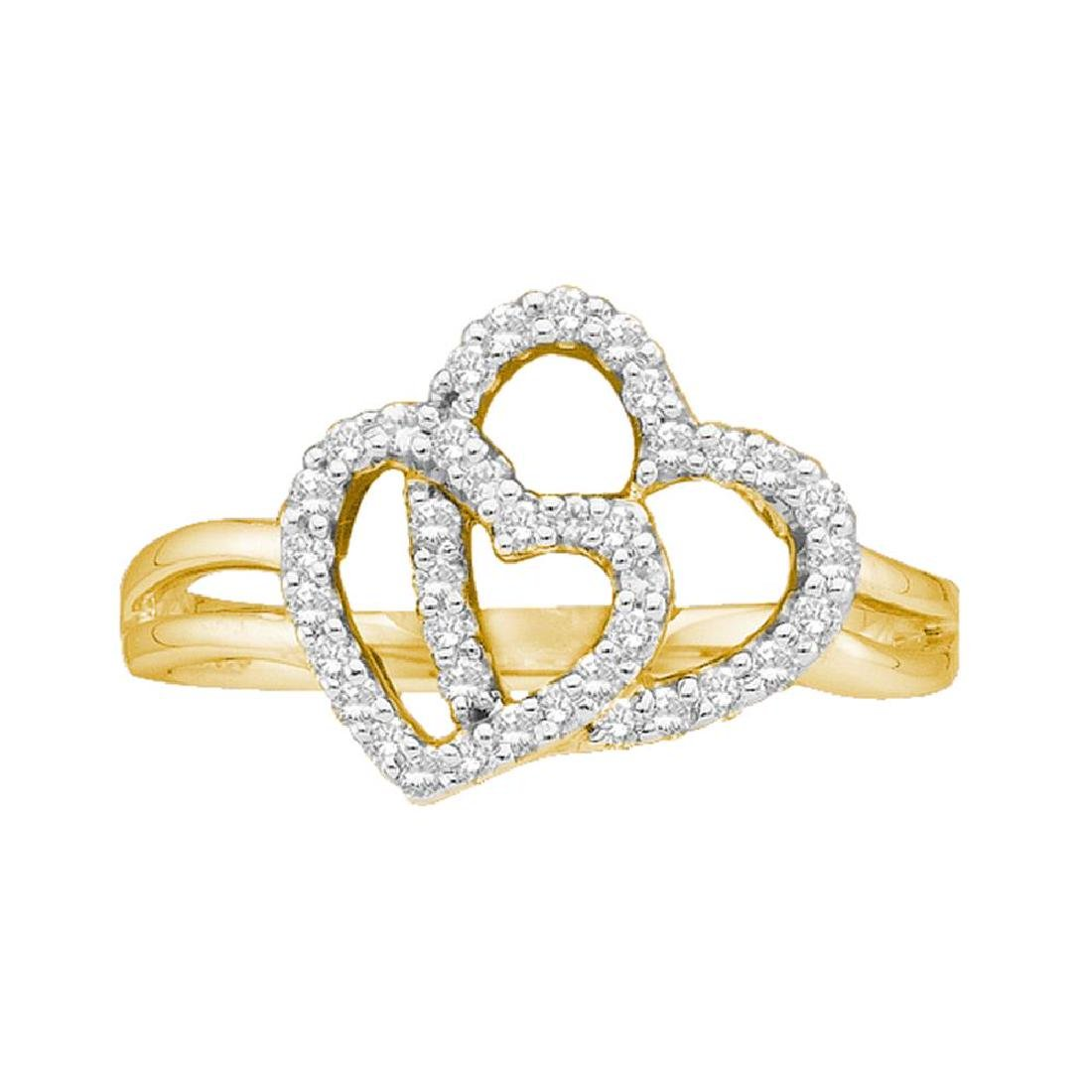 0.27 CTW Diamond Double Heart Ring 14KT Yellow Gold -