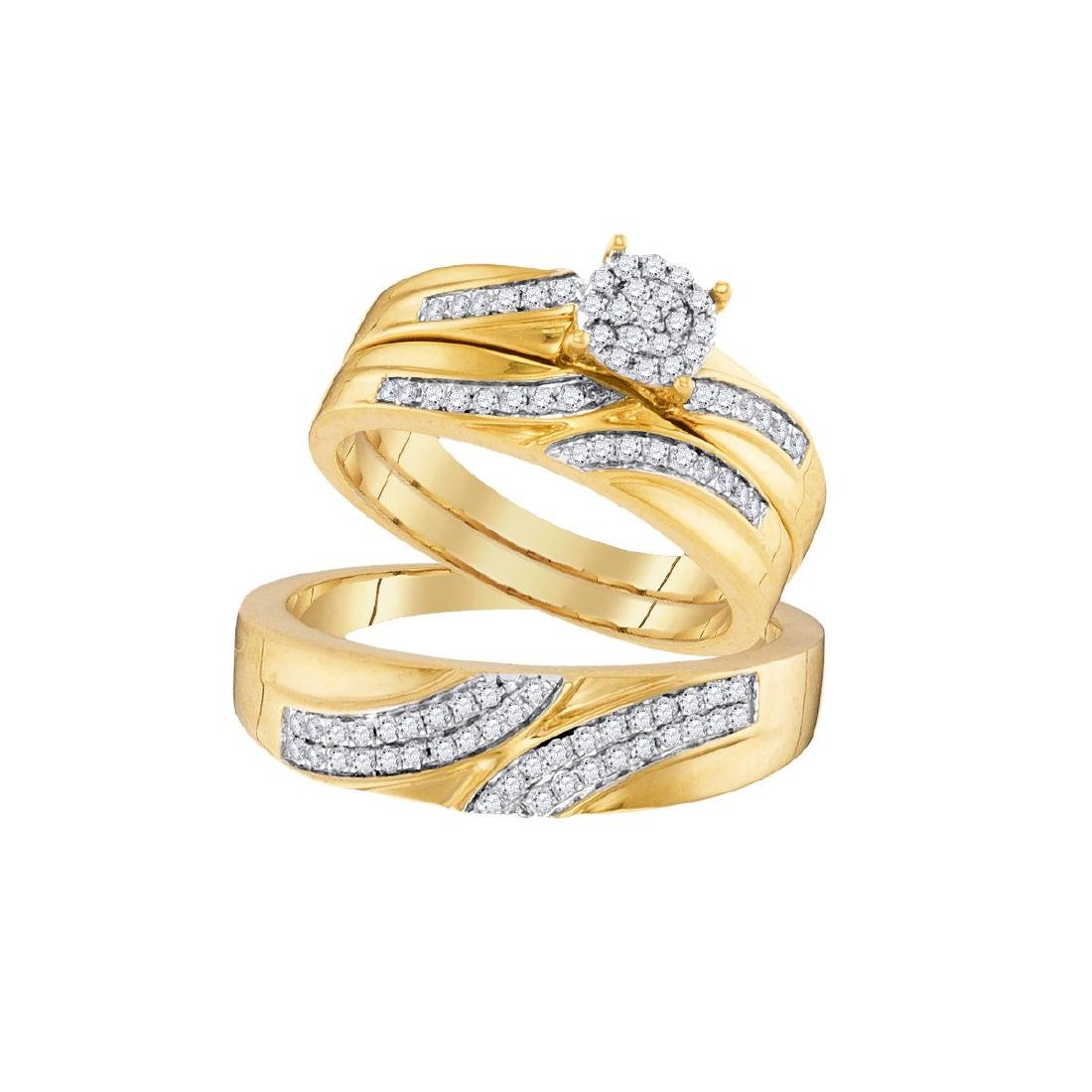 0.45 CTW His & Hers Diamond Cluster Matching Bridal