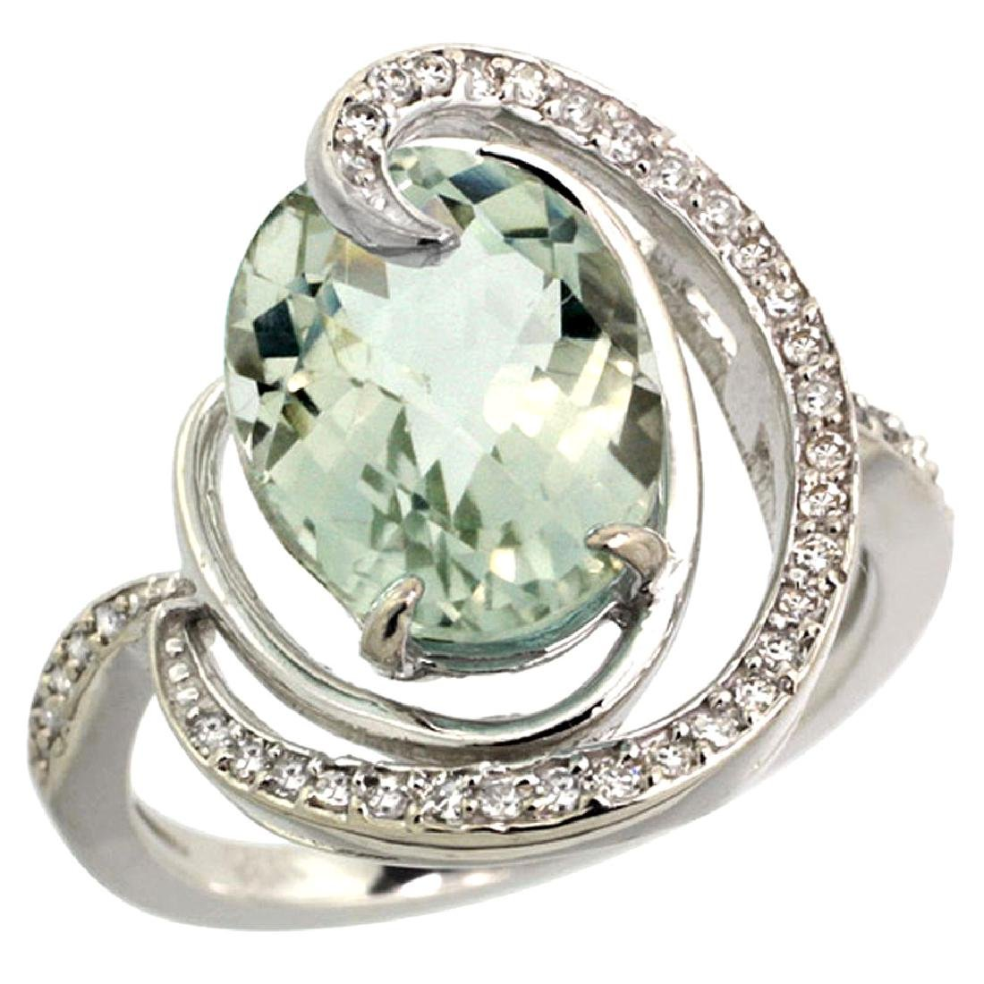 Natural 6.53 ctw green-amethyst & Diamond Engagement