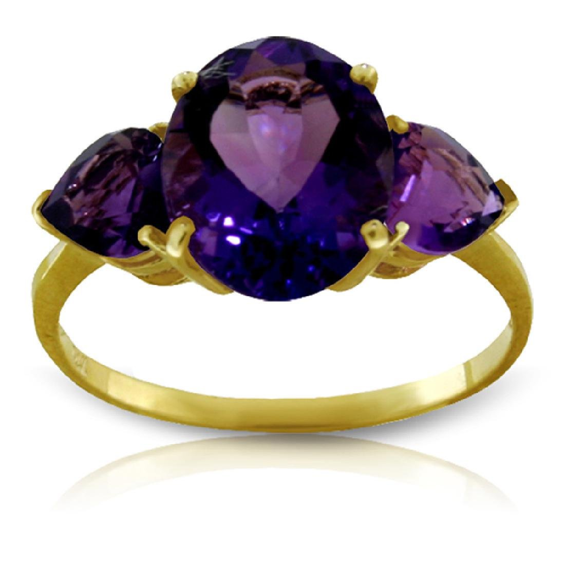 Genuine 4 ctw Amethyst Ring Jewelry 14KT Yellow Gold -