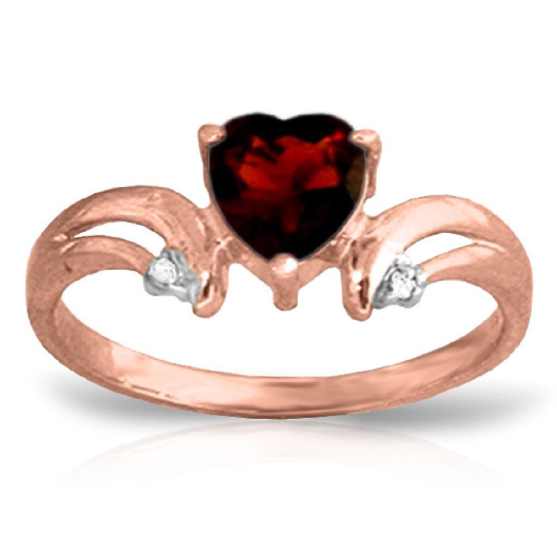 Genuine 1.26 ctw Garnet & Diamond Ring Jewelry 14KT