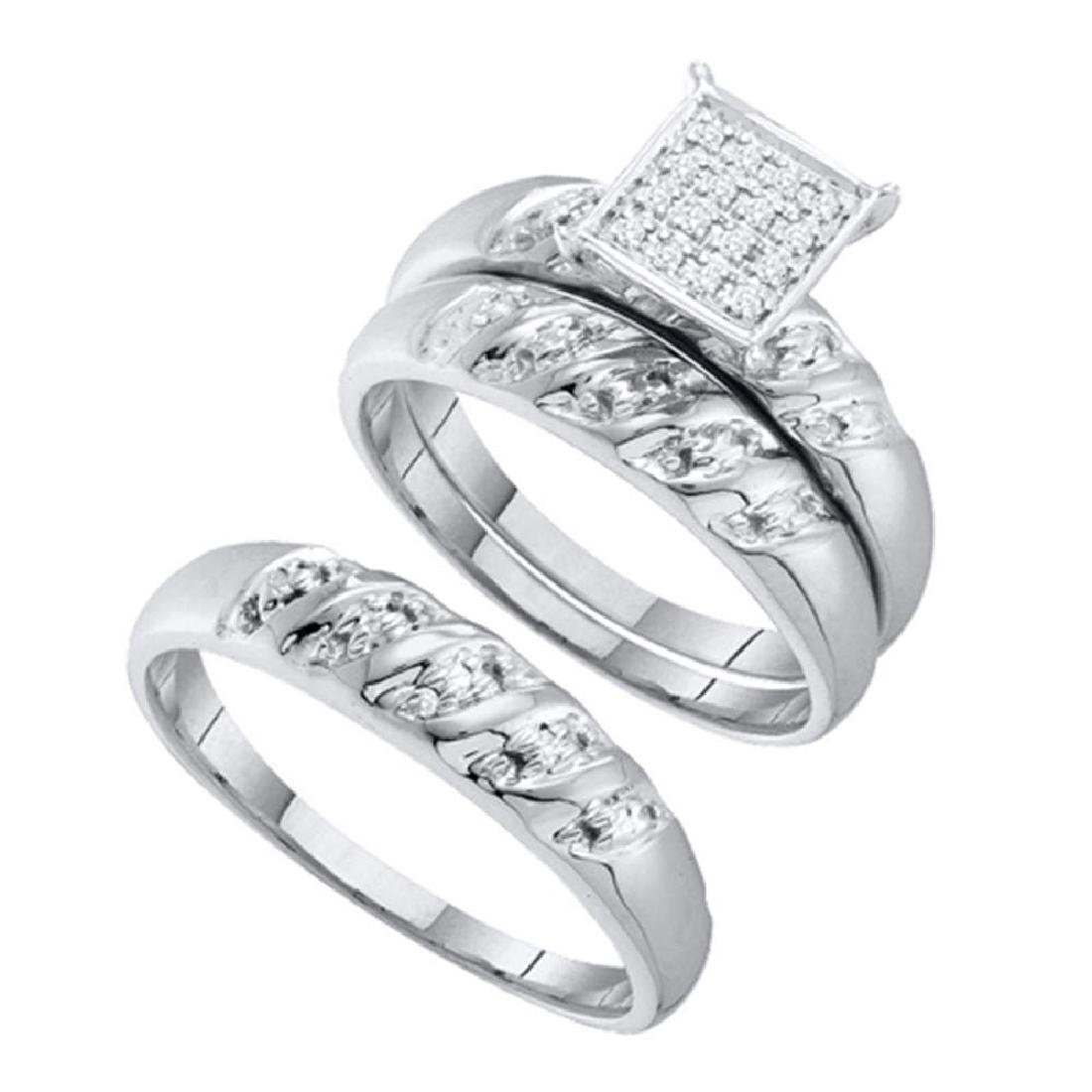 0.08 CTW His & Hers Diamond Cluster Matching Bridal