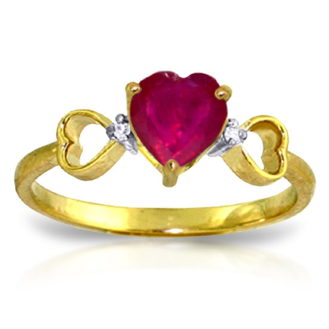 Genuine 1.01 ctw Ruby & Diamond Ring Jewelry 14KT