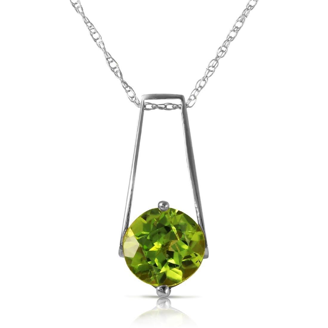 Genuine 1.45 ctw Peridot Necklace Jewelry 14KT White