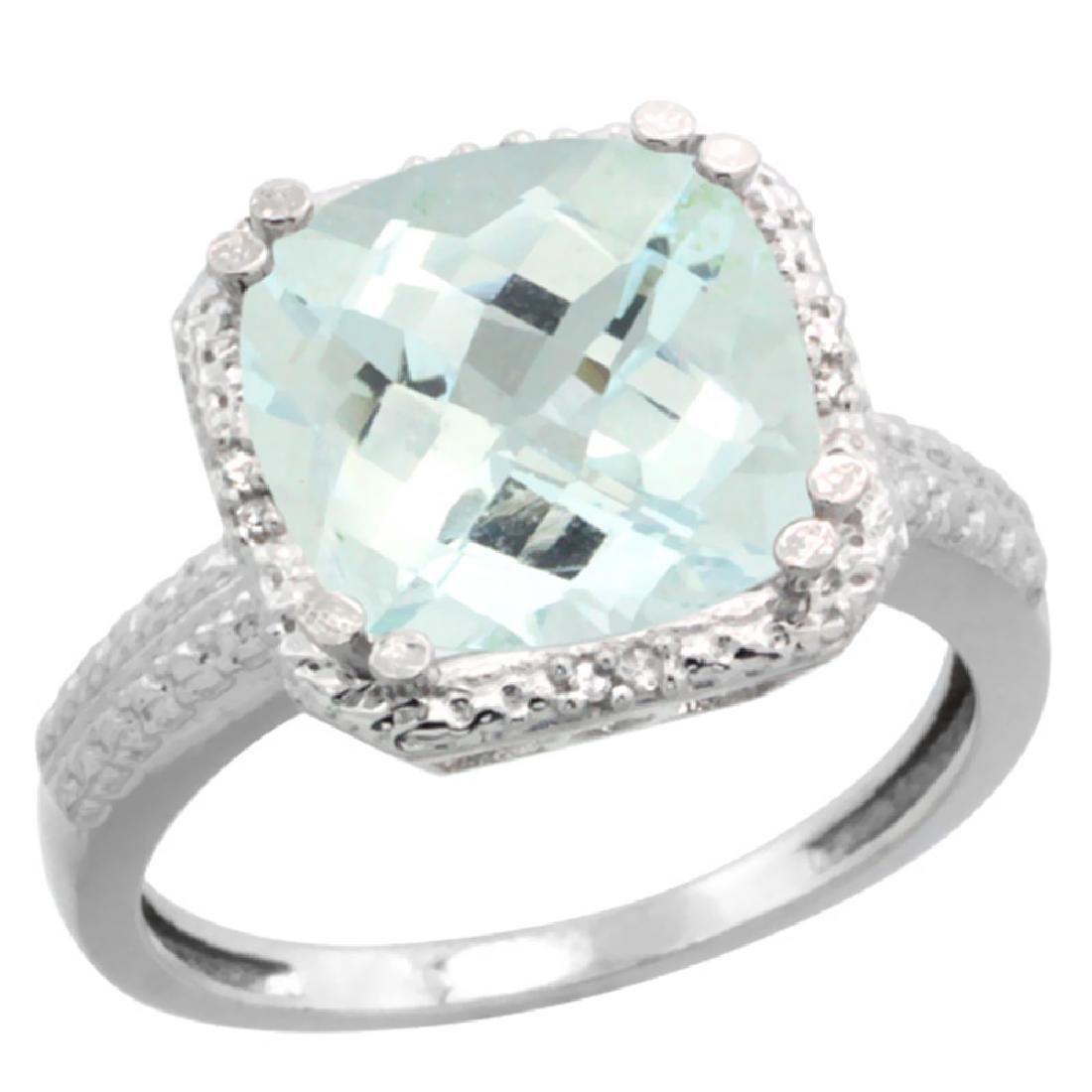 Natural 4.89 ctw Aquamarine & Diamond Engagement Ring