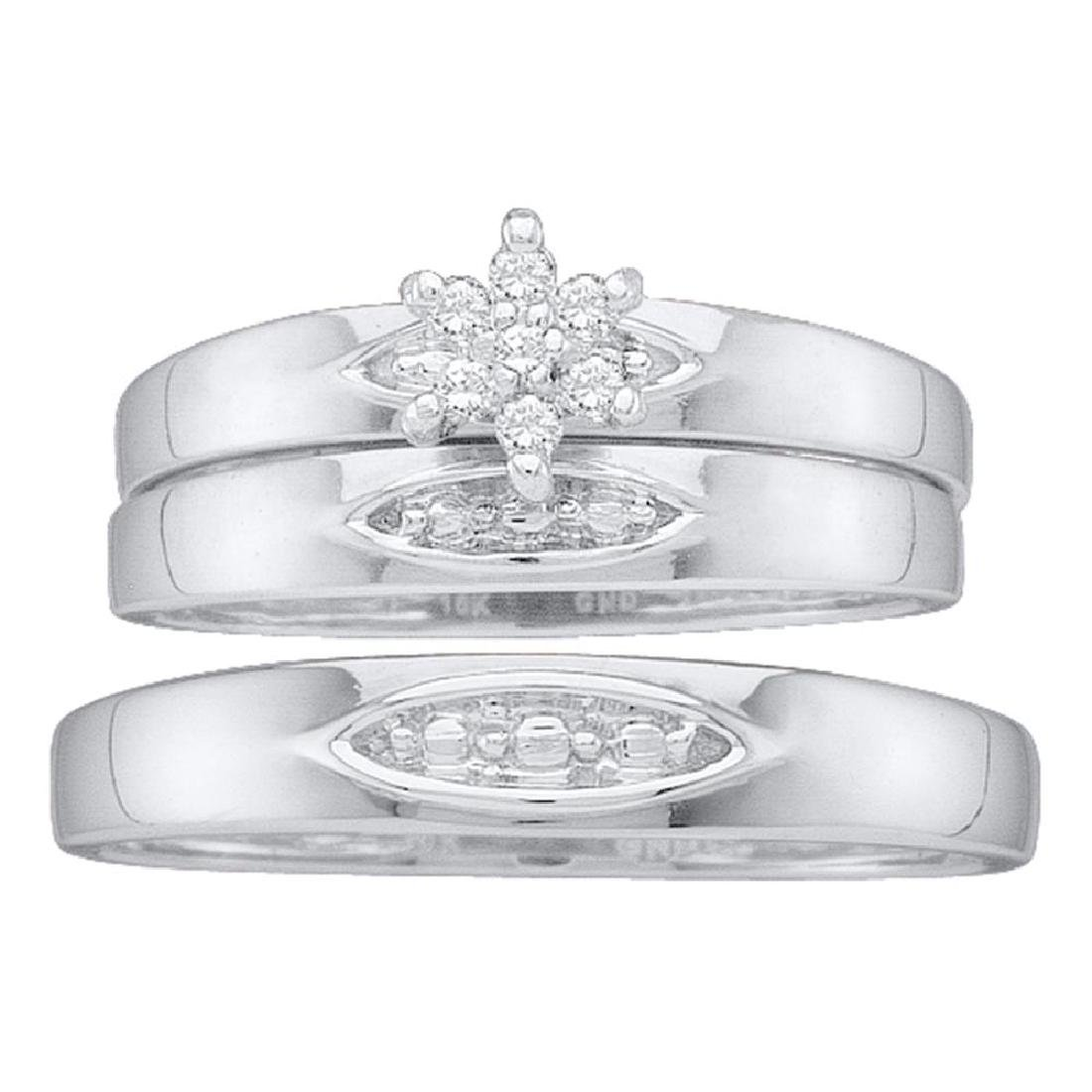 0.07 CTW His & Hers Diamond Cluster Matching Bridal