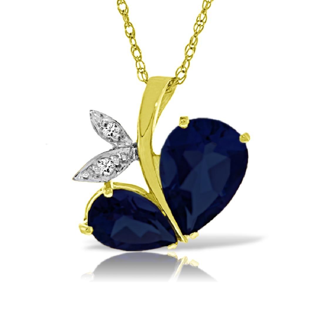 Genuine 5.36 ctw Sapphire & Diamond Necklace Jewelry
