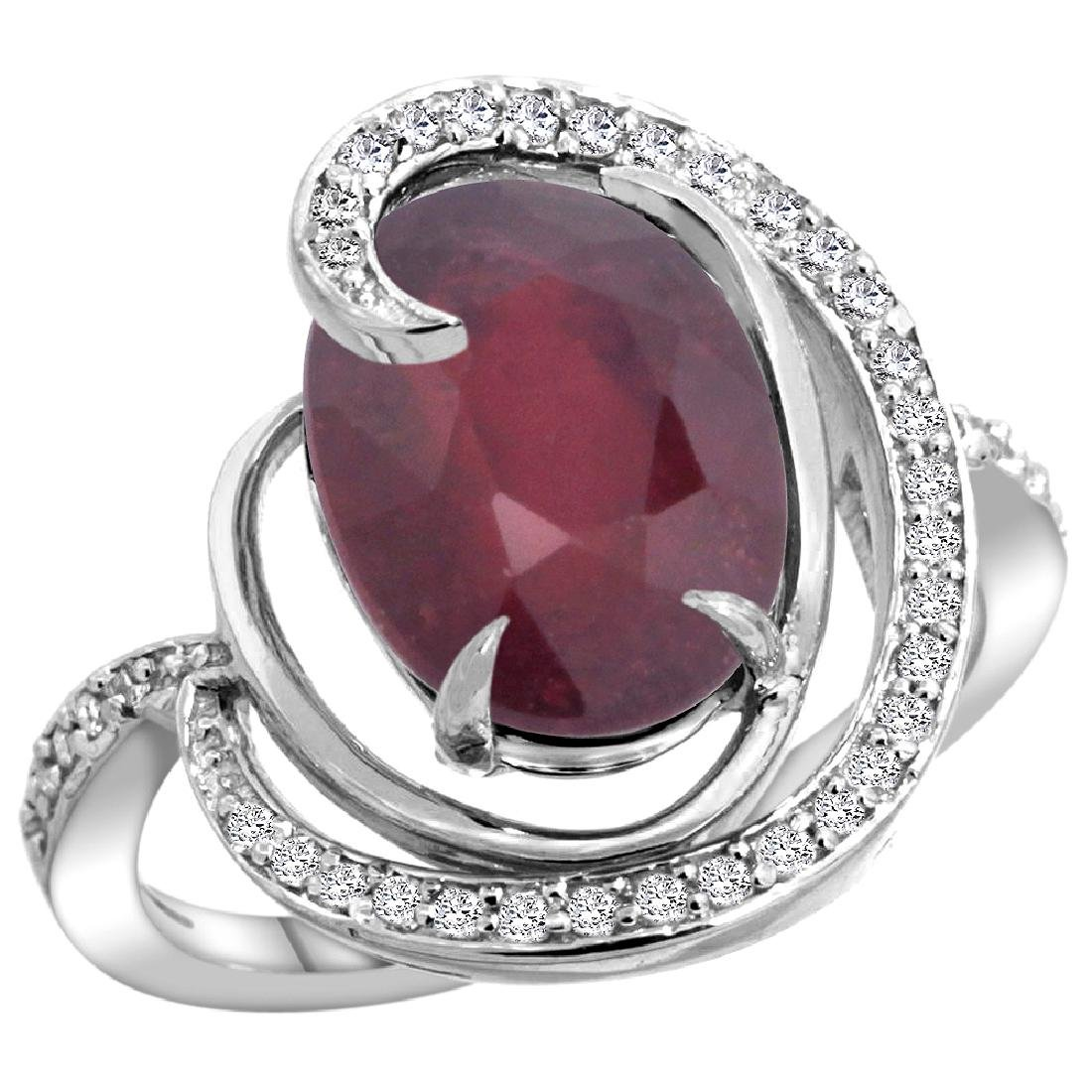 Natural 5.73 ctw ruby & Diamond Engagement Ring 14K