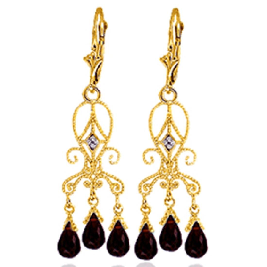 Genuine 6.31 ctw Garnet & Diamond Earrings Jewelry 14KT