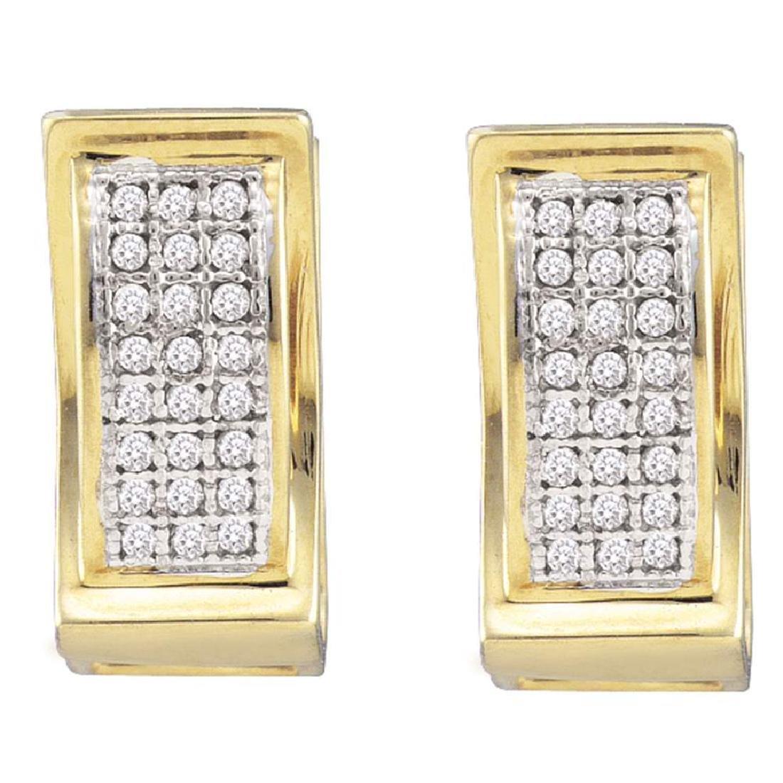 0.15 CTW Diamond Triple Row Huggie Earrings 10KT Yellow